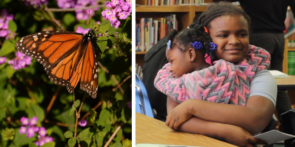 On the left hand side an orange and black Monarch butterfly in front of pink flowers. On the right hand side a mother hugs a young girl