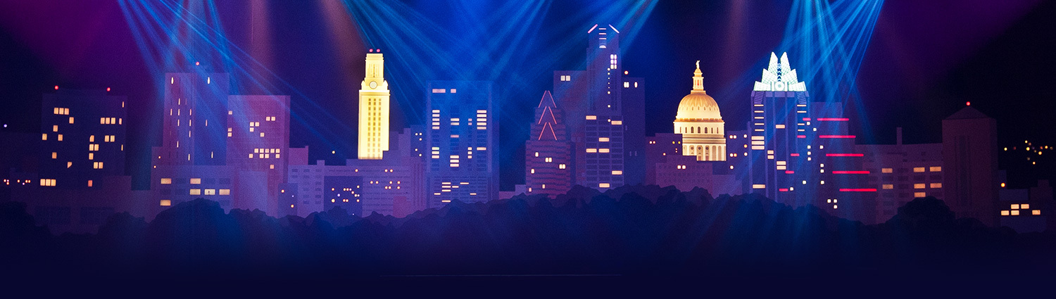 The Austin City Limits stage backdrop, lit up with stage lights.